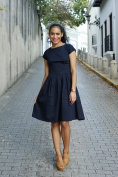 Alexandria Fit and Flare Dress Navy -- Shabby Apple