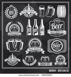 Beer icon chalkboard set - labels, posters, signs, banners, vector design symbols. Removable background texture.