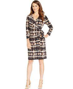 Anne Klein Geo-Print Faux-Wrap Dress - Dresses - Women - Macy's