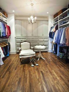 The spacious Dressing Room at Cedar Hill. Make your closet look organized by color coding your clothing.  www.cedarhillfarmhouse.com