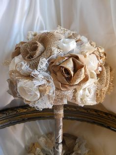 Burlap Bridal Wedding Bouquet handmade flowers and by PapernLace, $65.00
