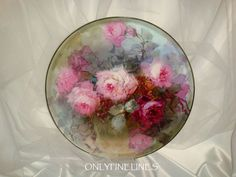 """Magnificent - T - Limoges - France - 16"""" - Charger - Tray - Platter - Hand Painted - Romantic - Victorian Bouquets - Pink Tea Roses - Artist Signed - Master Artist - FRANZ BERTRAM  AULICH - One-of-a-Kind - Museum Quality -  Rare Historical Treasure"""