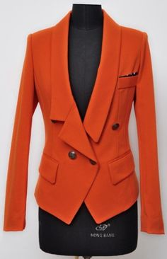 Orange Asymmetrical Lapel Polka Dot Fitted Suit