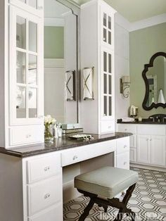 This custom vanity is just one of two in this accommodating bathroom. - Traditional Home ® / Photo: Werner Straube / Design: Kathleen Evers