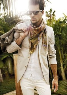 Shop this look for $297:  http://lookastic.com/men/looks/brown-scarf-and-beige-blazer-and-white-shortsleeve-shirt-and-beige-chinos/2443  — Brown Print Scarf  — Beige Blazer  — White Shortsleeve Shirt  — Beige Chinos