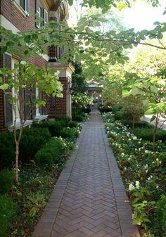Love the herringbone Brick path! Garden Paving, Garden Urns, Garden Pool, Garden Paths, Brick Path, Outdoor Retreat, Garden Landscape Design, White Gardens, Outdoor Landscaping