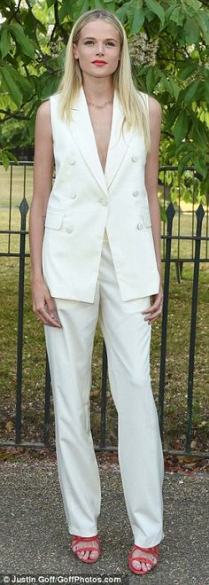 Incoming: English model and actress Gabriella Wilde opted for a loose fitting trouser suit...