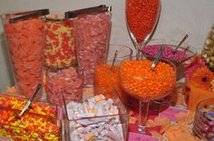 Southern Blue Celebrations: ORANGE / PEACH / CORAL CANDY BAR / BUFFET IDEAS