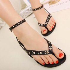 Women New Sandals Buckle Ankle Straps Rivets Clip Toe #Flip Flops #Flat #Shoes