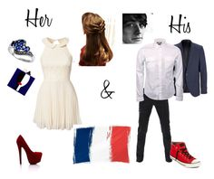 """""""His and Her :)"""" by shellyshway ❤ liked on Polyvore featuring Elise Ryan, Les Petits Joueurs, TheLees, SELECTED, Gucci and Converse"""