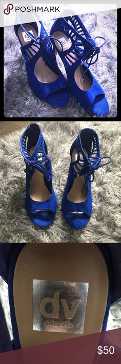 Size 11 - Dolce Vita Blue Heels Only wore one time for Graduation pictures! Size 11 and so so cute!   There is one small strand on the shoe that is not connected (shown in picture) Shoes Heels