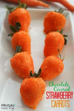 Chocolate Covered Strawberry Carrots - 2 ingredients in this Easter Recipe. I think the Easter Bunny would prefer these treats More Kids Food Crafts on Frugal Coupon Living.
