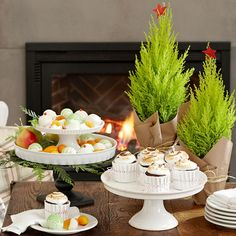 Use cake stands to show off your #holiday homemade treats! More #decorating ideas: http://www.bhg.com/christmas/indoor-decorating/simple-christmas-centerpieces/