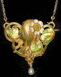John Joseph Pendants Austrian Art Nouveau18ct  gold and enamel broach/pendant  1900c