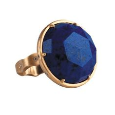 Caleo Pinch cocktail ring in 18k gold with rose-cut lapis lazuli center stone and 0.12 ct. t.w. diamonds