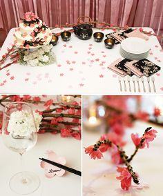 Japanese Tea party.  I love it, so pretty.  A little cherry blossom to  decorate the place.  ♥
