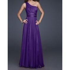 Purple Shoulder Beading Women's Solid Color Floor Length Chiffon Prom Dress
