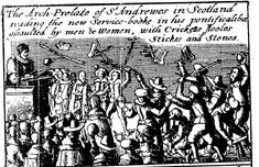An engraving shows Scots rioting at a reading of Charles I's new Book of Common Prayer, 1637 - Bridgeman Art Library Book Of Common Prayer, Prayer Book, Scottish Army, British History, Uk History, The Covenant, Little Books, 17th Century, Screen Shot