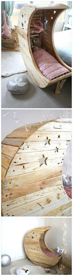 Baby diy bassinet Do it Yourself Pallet Projects - DIY Pallet Moon Shaped Baby Cradle Woodworking Tutorial via 99 Pallets Carpentry Projects, Diy Pallet Projects, Pallet Ideas, House Projects, Pallet Designs, Wooden Projects, Outdoor Projects, Sewing Projects, Woodworking Tutorials