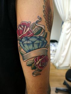 Roses diamond and ribbon tattoo