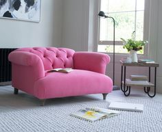 The Dixie love seat is a deep-seated gorgeous chesterfield style sofa. Upholstered in in bright Nantucket Pink brushed cotton