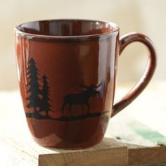 We love the Red Woodland Moose Mug and matching dinnerware set for any mountain house or rustic home! #Kirklands #fallretreat
