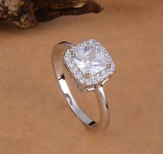 Sterling Silver Cubic Zirconia Engagement Band Ring by GCRDesigns
