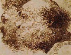 """Pietro Faccini,""""Deux têtes d'homme barbu"""""""