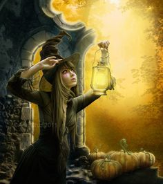 Halloween is just around the corner and everyone must have decided on a theme to use. Take inspiration from amazing Halloween art, illustrations and designs shared here. Fantasy Witch, Witch Art, Fantasy Art, Dark Fantasy, Tales Of Halloween, Halloween Art, Happy Halloween, Halloween Night, Halloween Illustration