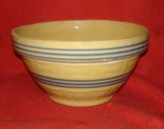 Vintage YELLOW WARE BLUE BANDED Squares Mixing Bowl