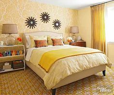 A warm yellow palette transforms this master bedroom into a comfortable and sunny retreat.