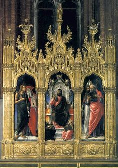 Page of Pala di San Marco (Triptych of St Mark) by VIVARINI, Bartolomeo in the Web Gallery of Art, a searchable image collection and database of European painting, sculpture and architecture Renaissance Fashion, Italian Renaissance, St Jerome, Fra Angelico, Web Gallery, Renaissance Paintings, European Paintings, Saint Nicholas, John The Baptist