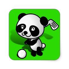 SOLD ! Cute Cartoon Baby Panda Bear Golfing Sticker SHIPPING TO Wailuku, HI #GOLF #Panda