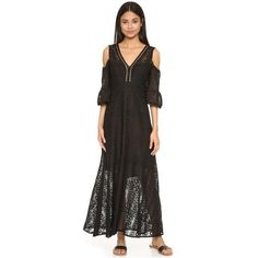 Nanette Lepore Merengue Maxi Dress ($655) ❤ liked on Polyvore featuring dresses, black, boho lace dress, lace cut-out dresses, cutout dresses, bohemian dresses and lace maxi dress