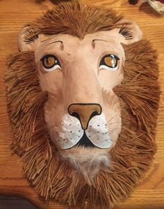 Paper-mache-Lion-Face-Mask-Jute-mane-wall-hanging-Hand-crafted-10-long-exotic