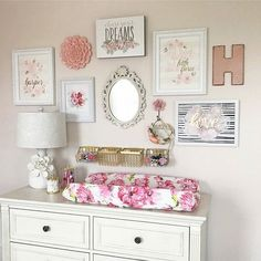 Pink floral baby girl nursery decor ideas Tips on Decorating Your Baby Nursery How Exciting! Rose Nursery, Gold Nursery Decor, Girls Room Wall Decor, Baby Wall Decor, Baby Girl Nursery Themes, Flower Nursery, Nursery Room, Themed Nursery, Nursery Ideas For Girls