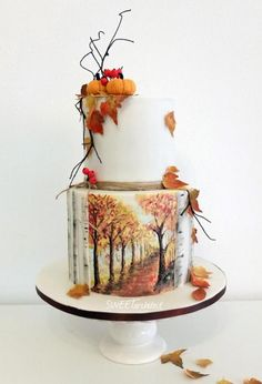 Maľovaná jesenná torta, Autor: SWEETarchitect Shared by Career Path Design Pretty Cakes, Cute Cakes, Beautiful Cakes, Amazing Cakes, Beautiful Desserts, Unique Cakes, Creative Cakes, Fondant Cakes, Cupcake Cakes