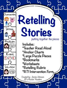 Retelling Stories Activities/Rubric/RTI Interventions - Use this page… Reading Strategies, Reading Activities, Teaching Reading, Reading Comprehension, Guided Reading, Retelling Activities, Learning, Sight Words List, Readers Workshop