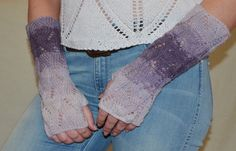 Long Lace Knit Fingerless Gloves Mittens lilac by HandMadeLana