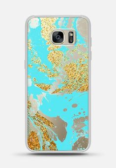 Turquoise gold faux glitter modern marble pattern Galaxy S7 Edge case by Pink Water | Casetify