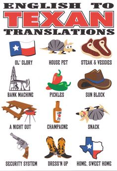 English to Texas translation. Eyes Of Texas, Texas Humor, Texas Funny, Only In Texas, Republic Of Texas, Texas Forever, Loving Texas, Texas Pride, Lone Star State