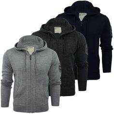 Mens Cardigan Jumper Hooded Dissident  Cruise  Hoodie Wool Mix Knit