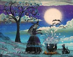 """Blue Spells""    All of our Witch Art and Halloween Art is for sale on Ebay or Etsy under screen name Sunbyrum.      Copyright © 1999-2011 Byrum Collectibles  All rights reserved.   All of our designs, artistry, and photos are protected by copyright."