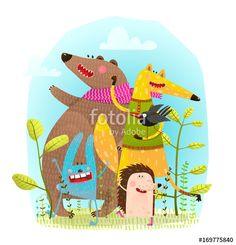 Vektor: Bear Fox Hedgehog Rabbit and Crow Funny Friends