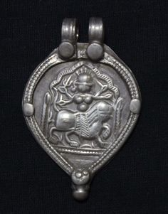Antique Indian Amulet, Goddess Durga Pendant, Ethnic Tribal, High Grade Silver, Rajasthan, India, 13.2 Grams by jasmineium on Etsy