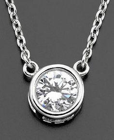 CRISLU Necklace, Platinum over Sterling Silver Cubic Zirconia Bezel Set Pendant (1 ct. t.w.) - Fashion Jewelry - Jewelry & Watches - Macy's