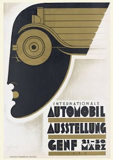Geneva International Automonile Exhibition poster, 1930, by Noel Fontanet (1898–1982)