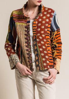 Mieko Mintz Vintage Cotton Mandi Jacket in Rust/Cream - Nahen Style Parisienne, Looks Vintage, Saris, Vintage Cotton, Quilted Jacket, Refashion, Clothing Patterns, Boho Fashion, Jackets For Women