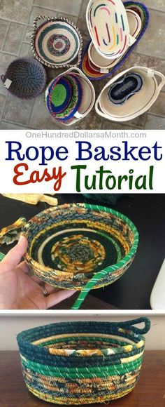 How to Make a Rope Basket - One Hundred Dollars a Month How to Make a Rope Basket - One Hundred Dollars a Month,Kleinigkeiten How to Make a Rope Basket, Rope Baskets, Rope Basket Tutorial bags purses crafts stitches patterns stitch crochet crafts Sewing Hacks, Sewing Tutorials, Sewing Crafts, Sewing Patterns, Sewing Tips, Tutorial Sewing, Fabric Basket Tutorial, Crochet Basket Tutorial, Sewing Ideas