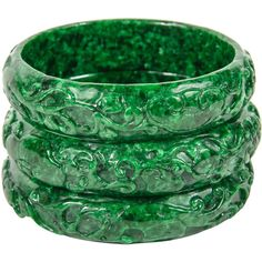 Pre-owned Classic Set of Three Hand Carved Chinese Hardstone Bracelets... ($3,475) ❤ liked on Polyvore featuring jewelry, bracelets, bangles, pre owned jewelry, jade bangle bracelet, deco jewelry, carved jade bangle and hinged bangle